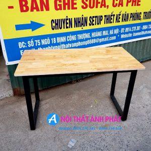 Thanh lý bàn làm việc chân sắt mặt gỗ tự nhiên cao su 1m2x60