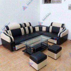 sofa góc da đen trắng