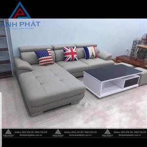 sofa góc bọc da hàn quốc  màu kem chì